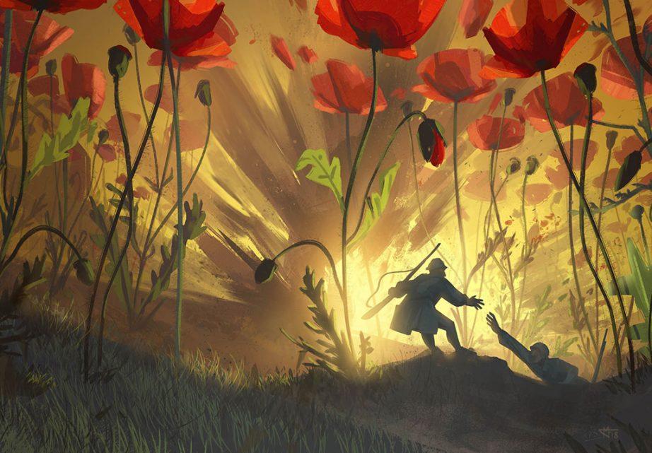 Sous les tranchées, les fleurs